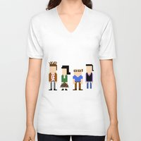 seinfeld V-neck T-shirts featuring Seinfeld in 8 Bit  by AutoMasta