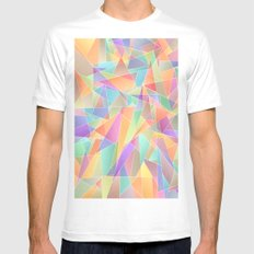 The Geometric Glass Shatter White MEDIUM Mens Fitted Tee