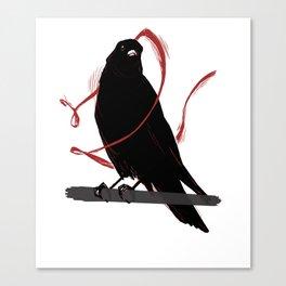 red ribbon crow Canvas Print