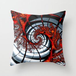 Fractal Art - Burning Web Throw Pillow