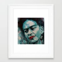 frida kahlo Framed Art Prints featuring Frida Kahlo by Paul Lovering Watercolors