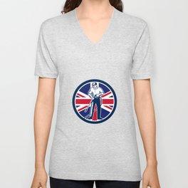 British Pressure Washing Union Jack Flag Circle Retro Unisex V-Neck