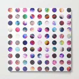 Rainbow Nebula Galaxy Girly Polka Dots Pattern Metal Print