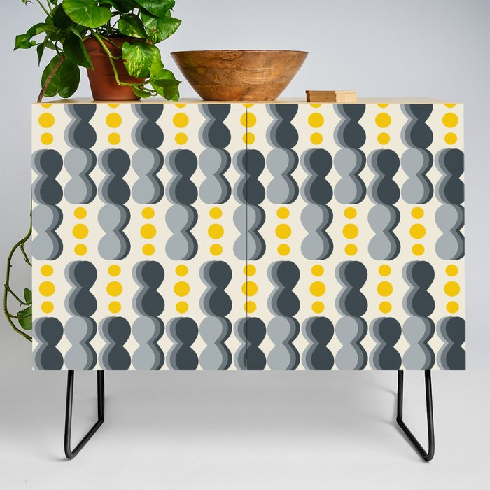 Uende Grayellow - Geometric and bold retro shapes Credenza
