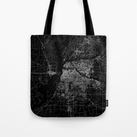 memphis Tote Bags featuring Memphis map by Line Line Lines