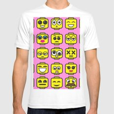 Yellow Cartoon Faces on Pink Background Mens Fitted Tee White MEDIUM