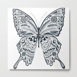 Blue Butterfly Mandala Metal Print
