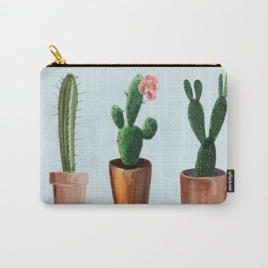 Three Cacti On Light Blue Background Carry-All Pouch