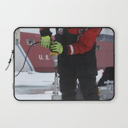 Benny Hopson from the Barrow Arctic Science Consortium in Alaska drills a core sample from sea ice i Laptop Sleeve