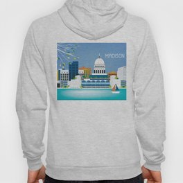 Madison, Wisconsin - Skyline Illustration by Loose Petals Hoody