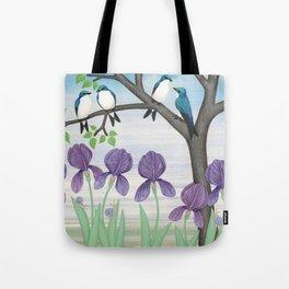 tree swallows & irises Tote Bag