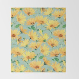 Painted Golden Yellow Daisies on soft sage green Throw Blanket