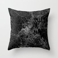 nashville Throw Pillows featuring nashville map by Line Line Lines