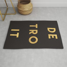 DETROIT MICHIGAN GOLD CITY TYPOGRAPHY Rug