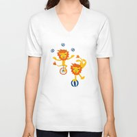 lions V-neck T-shirts featuring Lions by Kendra Shedenhelm