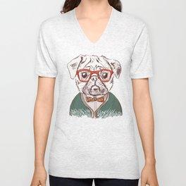Hipster pug Unisex V-Neck