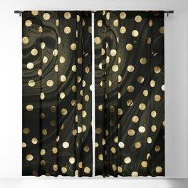Golden dots in balck marble Blackout Curtain