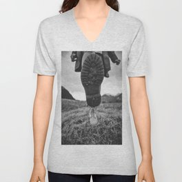Let's Explore (Black and White) Unisex V-Neck