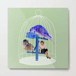 Birdie // Caged Metal Print