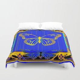 Lapis Blue & Gold Monarch Western Art design Duvet Cover