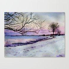 Winter evening in Racine Canvas Print