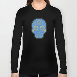 Día de Muertos • Mexican Sugar Skull – Blue & Gold Palette Long Sleeve T-shirt