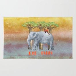 ELE FUN - Elephant Elephants Africa Watercolor Illustration Rug
