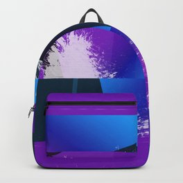 Purple and Cyan Abstract Glitch Collage Backpack