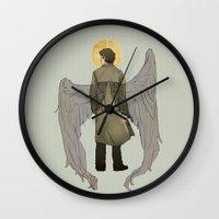 castiel Wall Clocks featuring Castiel by cyrrs