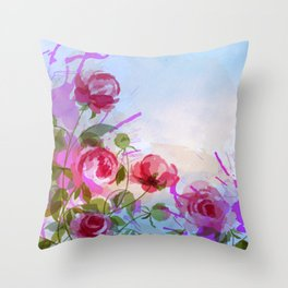 joyful flowers Throw Pillow