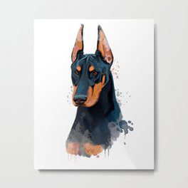 Watercolor Doberman, Doberman Watercolor, Doberman Painting Metal Print