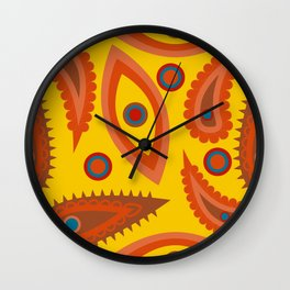 seamless pattern with leaves and flowers paisley style Wall Clock