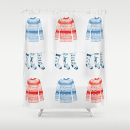 Winter sweaters Shower Curtain