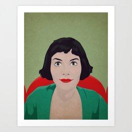 Amelie, minimalist poster, film canvas, retro framed, Audrey Tautou poster, illustration Amelie Art Print