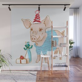 Holiday Party Pig Wall Mural