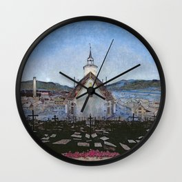 All Night Forever, Town and Cemetery by moonlight landscape by Harald Sohlberg Wall Clock