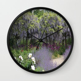 Blue Flowergarden With Wisteria Wall Clock
