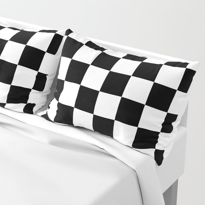 Black & White Checker Checkerboard Checkers Pillow Sham