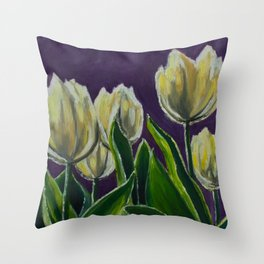 Tulips in Purple Oil Painting Throw Pillow