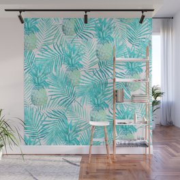 Turquoise Palm Leaves and Pineapples on Pink Wall Mural