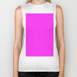 Pink Grid White LIne Biker Tank