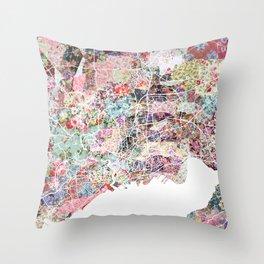 Brest map Throw Pillow