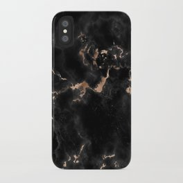 Rose Gold and Black Marble iPhone Case