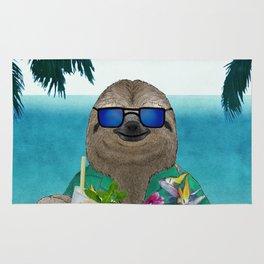 Sloth on summer holidays drinking a mojito Rug