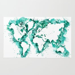 Watercolor splatters world map in teal Rug