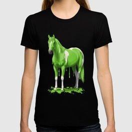 Neon Green Wet Paint Horse T-shirt