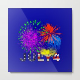 America 4th of July Fireworks Metal Print