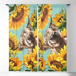 Highland Cow with Sunflowers in Blue Blackout Curtain