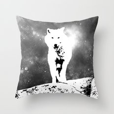 Walking on the moon Wolf Throw Pillow