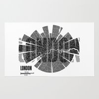 london map Area & Throw Rugs featuring London Map by Shirt Urbanization